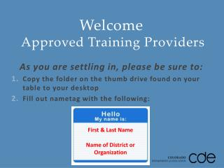 Welcome  Approved Training Providers