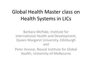 Global Health Master class on Health Systems in LICs