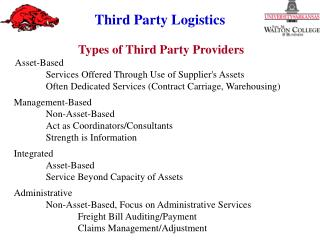 Types of Third Party Providers Asset‑Based  Services Offered Through Use of Supplier's Assets Often Dedicated Service