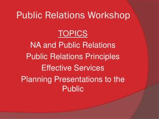 Public Relations Workshop