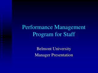 Performance Management Program for Staff