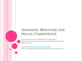 Assessing Behavior and Social Competence