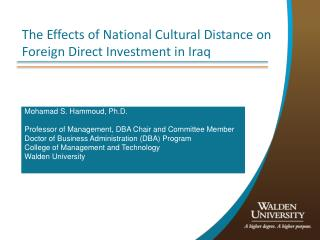 The Effects of National Cultural Distance on Foreign Direct Investment in Iraq