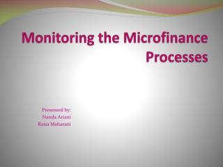 Monitoring the Microfinance Processes