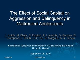 The Effect of Social Capital  on  Aggression and Delinquency in Maltreated Adolescents