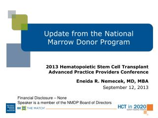Update from the National Marrow Donor Program