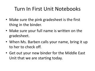 Turn In First Unit Notebooks