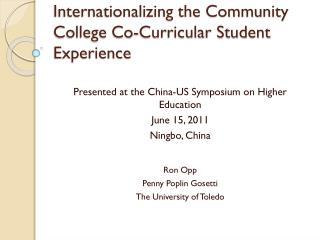 Internationalizing the Community College Co-Curricular Student Experience