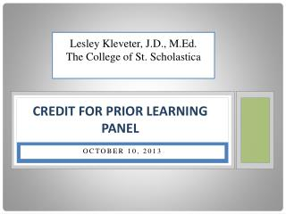 Credit  for Prior Learning Panel