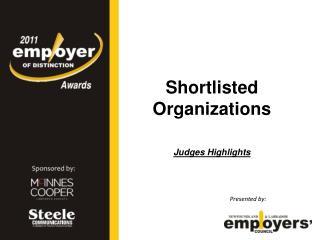 Shortlisted Organizations Judges Highlights