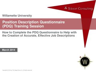 Position Description Questionnaire  (PDQ) Training Session