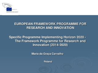 EUROPEAN FRAMEWORK PROGRAMME FOR RESEARCH AND INNOVATION
