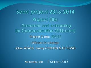 NET Section, CDI 2 March, 2013