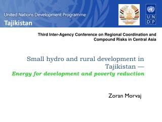 Small hydro and rural development in Tajikistan — Energy for development and poverty reduction