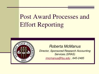 Post Award Processes and Effort Reporting