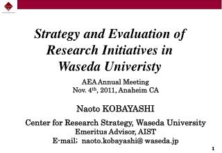 Strategy  and Evaluation of Research Initiatives  in  Waseda Univeristy