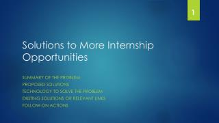 Solutions to More Internship Opportunities