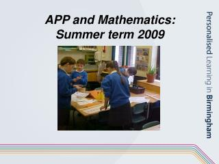 app and mathematics: summer term 2009