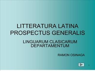 litteratura latina prospectus generalis