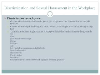Discrimination and Sexual Harassment in the Workplace