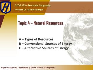 Topic  4  –  Natural Resources