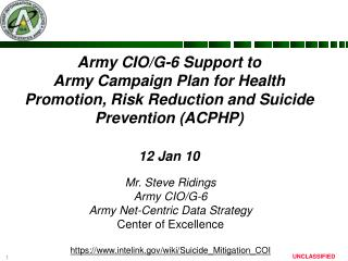 Army CIO/G-6  Support to  Army Campaign Plan for Health Promotion, Risk Reduction and Suicide Prevention (ACPHP)  12 Ja