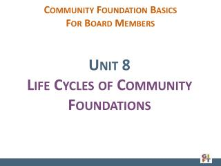 Community Foundation  Basics  For Board Members