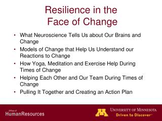 Resilience in the  Face of Change