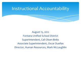 Instructional Accountability