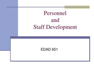 Personnel  and  Staff Development
