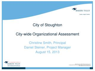 City of Stoughton City-wide Organizational Assessment