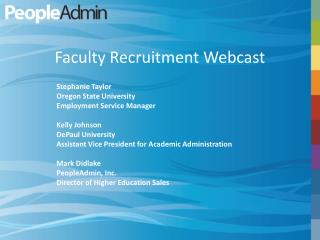 Faculty Recruitment Webcast