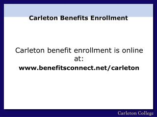 Carleton Benefits Enrollment