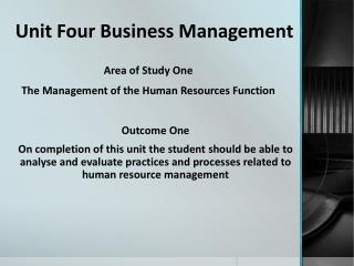 Unit Four Business Management