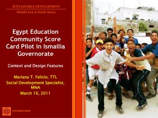 Egypt Education Community Score Card Pilot in Ismailia Governorate