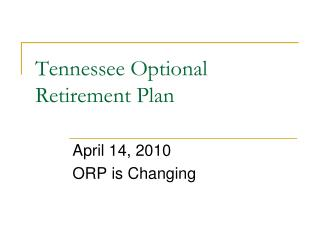Tennessee Optional Retirement Plan