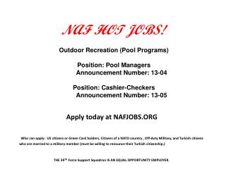 NAF HOT JOBS!