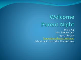 Welcome  Parent Night