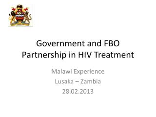 Government and FBO Partnership in HIV Treatment