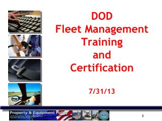 DOD  Fleet Management Training  and Certification 7/31/13