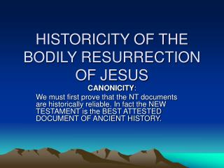 historicity of the bodily resurrection of jesus