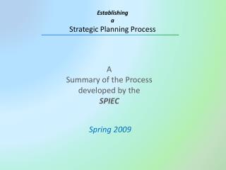 A Summary of the Process  developed by the  SPIEC
