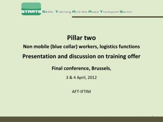 Pillar two  Non mobile  (blue collar) workers, logistics functions Presentation and discussion on training offer Final