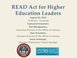 READ Act for Higher Education Leaders