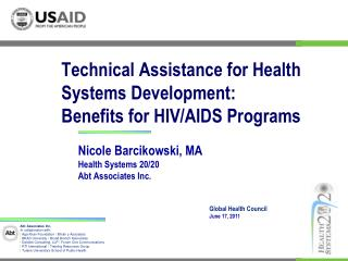 Technical Assistance for Health Systems Development:  Benefits for HIV/AIDS Programs