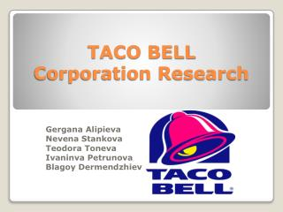 TACO BELL Corporation Research