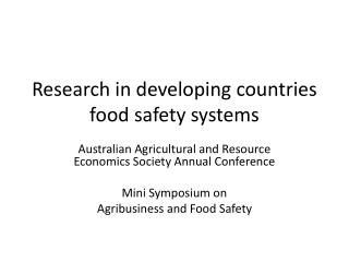 Research in developing countries food safety systems