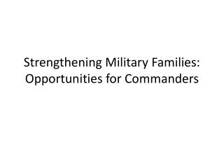Strengthening Military Families: Opportunities for Commanders