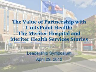 Leadership Symposium April 29, 2013