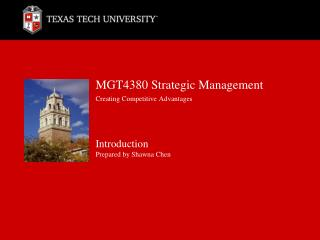 MGT4380 Strategic Management Creating Competitive Advantages